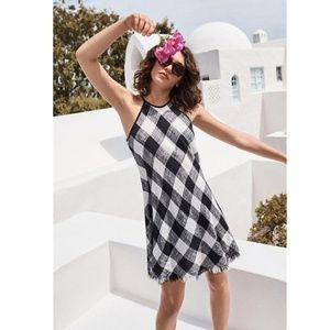 Anthropologie Frayed Gingham Dress New S